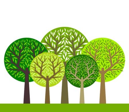 녹색 나무 그림의 그룹