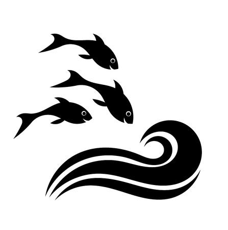 幸せな魚の水の図へのジャンプ  イラスト・ベクター素材