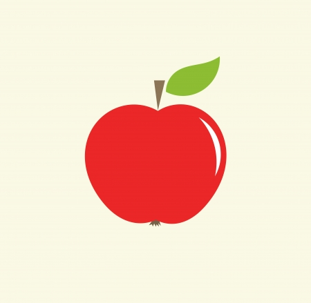 Red apple with leaf illustration Vector