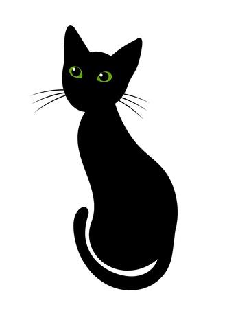 gato dibujo: Gato negro con los ojos verdes ilustración