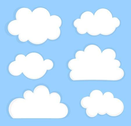 Blauwe lucht met witte wolken. Vector illustratie