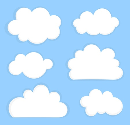 Blue sky with white clouds. Vector illustration Çizim