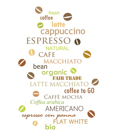 List of coffee types design. Vector illustration Vector