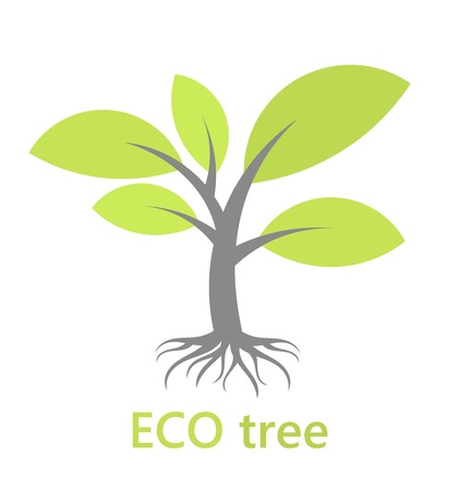 Eco tree with roots. Vector illustration Vector