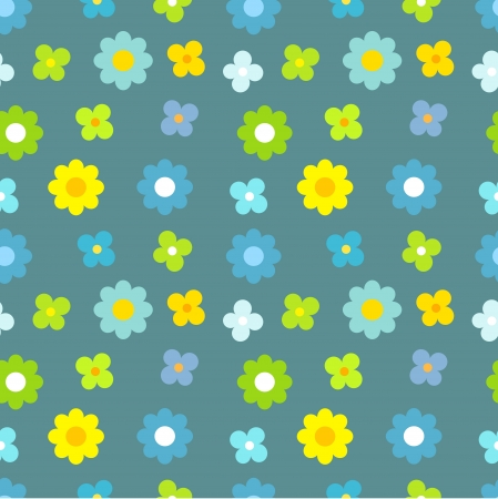 Blue and yellow flowers. Seamless vector pattern Vector