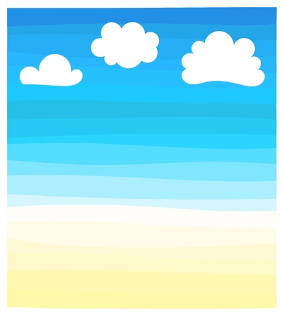 Beach, sea and sky. Vector illustration Vector