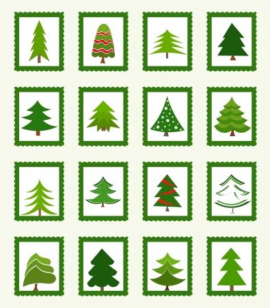 feliz: Alberi di Natale francobolli o icone. Vector illustration Vettoriali