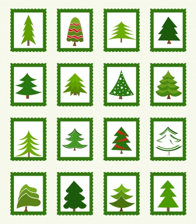 Christmas trees stamps or icons. Vector illustration Ilustração