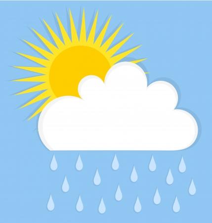 sol caricatura: Lloviendo nubes y sol. Cielo de verano ilustración vectorial
