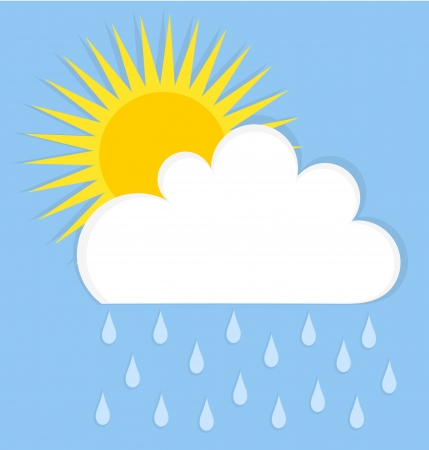 rain cartoon: Raining cloud and sun. Summer sky vector illustration Illustration