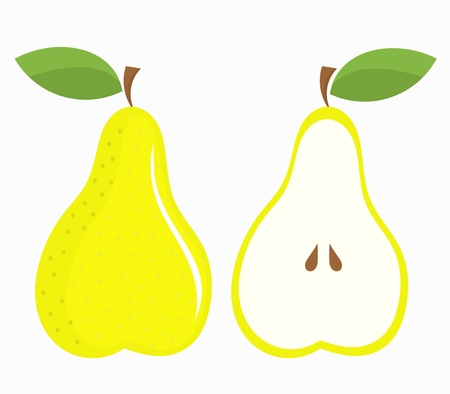 simple cross section: Green pears - whole and cut half with seeds. Vector illustration