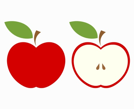 simple cross section: Red apple, whole and half of fruit. Vector illustration