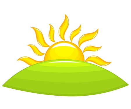 sol naciente: Sol sobre la colina verde. Ilustración vectorial Vectores