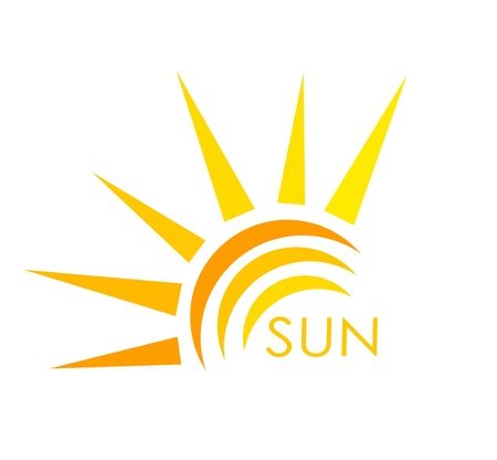 sol radiante: Símbolo del sol. Resumen ilustración vectorial