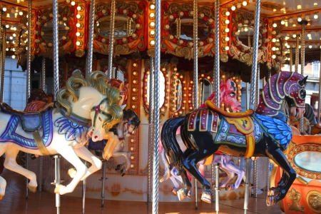 Old fashioned carousel horses in Madrid