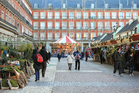 MADRID, SPAIN - DECEMBER 5   Christmas market stalls on Plaza Mayor December 5, 2012 in Madrid Spain  Grand Christmas Market is a popular attraction for tourists and locals in December