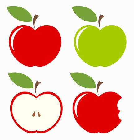 Appels. Set van rode, groene, gebeten en de helft van fruit met blad. Vector illustratie
