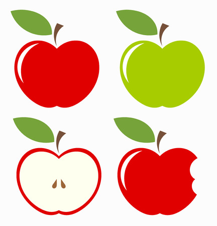 biting: Apples. Set of red, green, bitten and half of fruit with leaf. Vector illustration