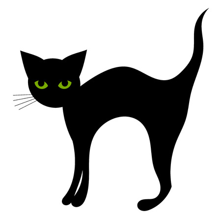 Black cat isolated. Halloween vector illustration
