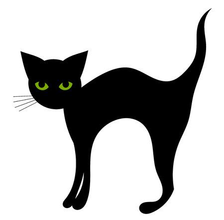 Zwarte kat geïsoleerd. Halloween vectorillustratie Stock Illustratie
