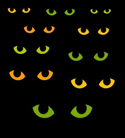 vision nocturna: Ojos de gato verdes y amarillos en la oscuridad. Ilustraci�n vectorial Vectores