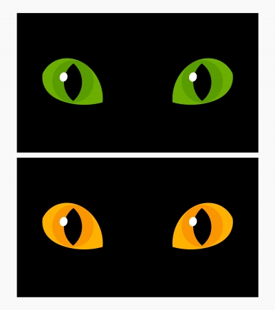 Yellow and green cat eyes. Vector illustration Vector