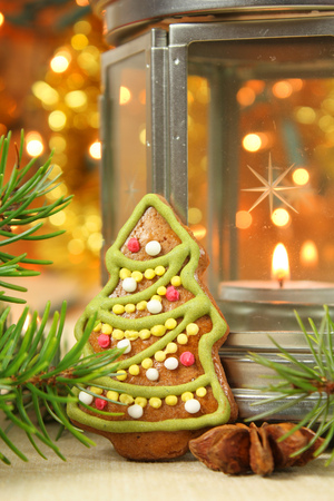 Christmas tree gingerbread cookie and lantern photo