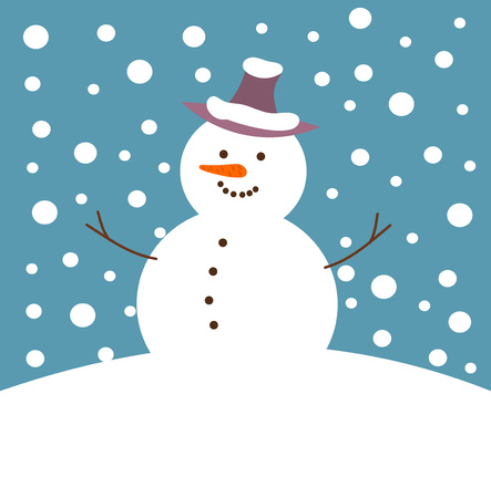 Happy snowman in winter snow fall. Vector illustration Vector