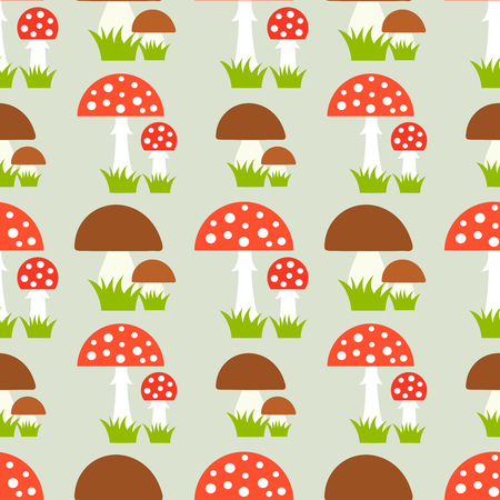 Fly agaric and boletus mushrooms. Seamless vector pattern Illustration