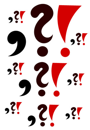and comma: Comma, question mark and exclamation background