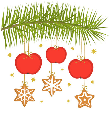 Christmas apples and gingerbread cookies hanging on spruce branch Vector