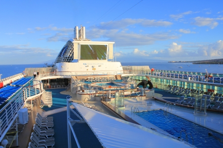 LAHAINA, MAUI, HAWAII - SEPTEMBER 18 : Top deck of Princes Cruises ship on September 18, 2012 in Lahaina, Hawaii, USA. Dawn Princess has a capacity of 1,990 passengers and 924 crew