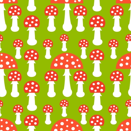 Toadstool mushrooms seamless pattern. Vector illustration Vector