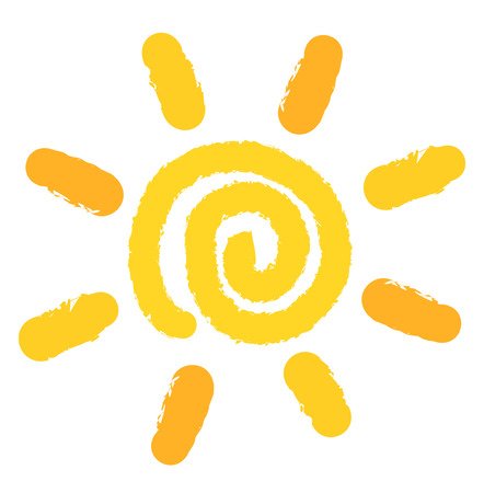 Painting of swirl sun symbol. Vector illustration