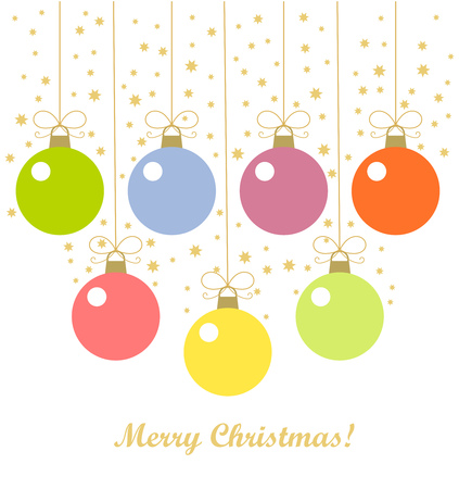 Christmas baubles hanging  Vector illustration background Stock Vector - 24197443