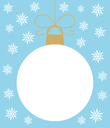 White Christmas ball in snowflakes  Vector illustration