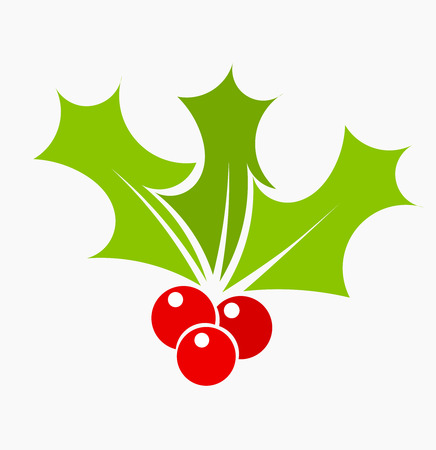 Plant symbol of Christmas holly berry illustration Vector