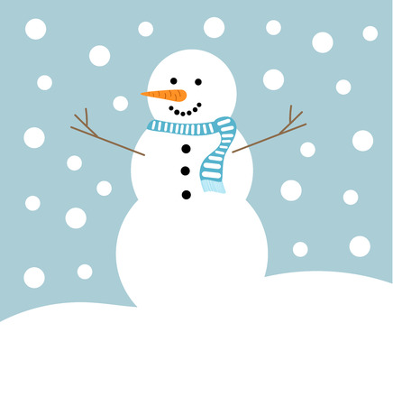 Snowman in blue scarf in winter landscape. Vector illustration Illustration