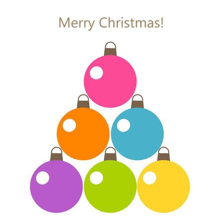 Christmas baubles tree card. Vector illustration Vector