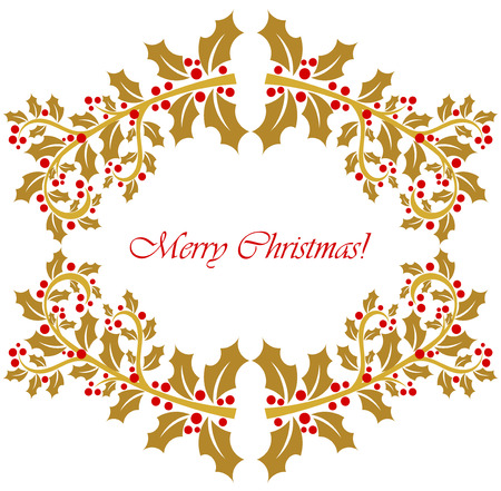 Gold holly berry frame. Christmas background Vector
