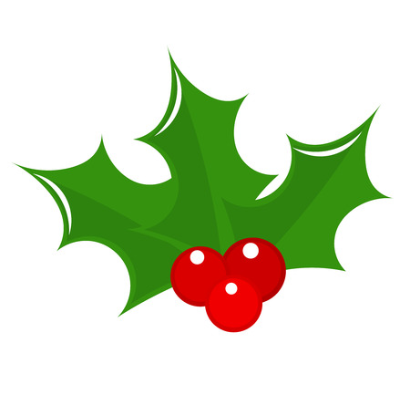 holly leaves: Holly berry icon. Christmas symbol illustration Illustration