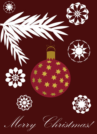 conifer: Christmas card design with glass ball and conifer branch over purple background