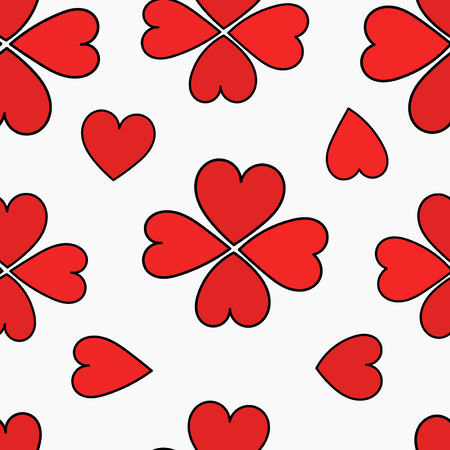 Hearts clovers. Seamless vector pattern Vector