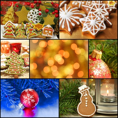 Christmas collage made of gingerbread cookies, baubles, candles and lights Stock Photo - 24831783