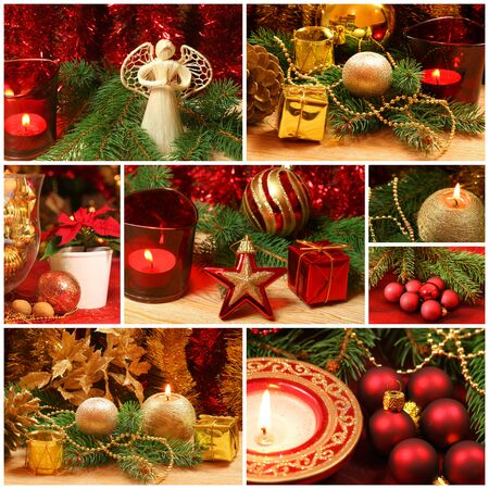Christmas collage of golden and red decorations Stock Photo - 24831785