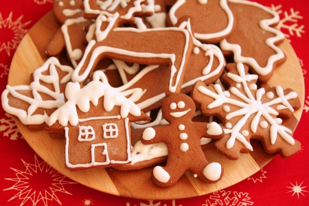 Christmas cookies, gingerbread man and various shapes photo