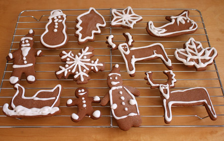 Decorating of Christmas gingerbread cookies photo