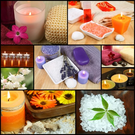 Collage of spa concepts for beauty and relax photo