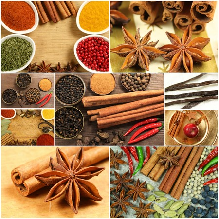 Collage of spices photo