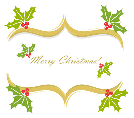 Christmas holly border decoration. Vector greeting card background Vector